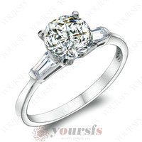 Wholesale unique white gold engagement rings - Yoursfs Exquisite Unique Rings 18 k White GP Engagement 4 Prong Solitaire CZ Flower Rings Wedding Rings for Women Fashion Jewelry