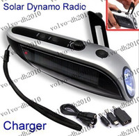 Wholesale Dynamo Cell - Solar Power Hand-Winding Crank Dynamo 4 LED Flashlight Torch +FM Radio +Charge Vb5 40pcs lot