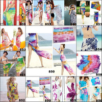 Wholesale Sexy Stripes Dress White Black - Sexy Girls Pareo Sarong Dress for Women Colorful Sheer Chiffon Cover up Wrap Beach Bikini Shawl Floral Scarf Silky Tulle Bohemian Dresses