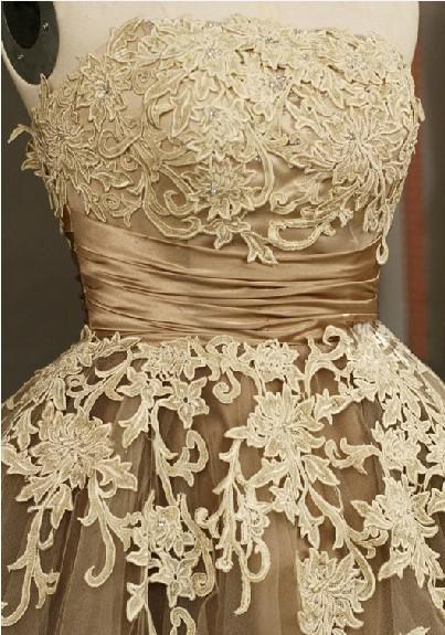 Classy Brown Korte Bruidsmeisjes Jurken Knielengte Kant Sweetheart A-Line Kantjurk Daadwerkelijke beelden