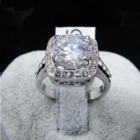 18 k swarovski kristal elmas yüzük toptan satış-Altın kaplama Yüzük, 5 renkler Büyük Simüle Taş pırlanta parmak yüzük, kadın Swarovski kristal damgalı 18KGP moda altın dolgulu takı