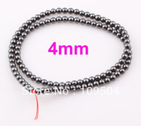 Wholesale Stone Balls Beads - 4mm Black Hematite Beads Shamballa Hematite Balls Round Stone Loose Beads 100pcs lot Free shipping BE331