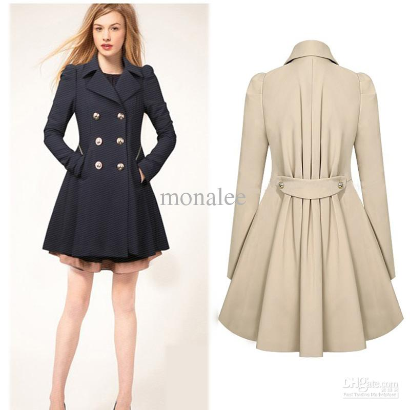 2017 Women Fashion Winter Coat Slim Waist Coat Double Breasted ...