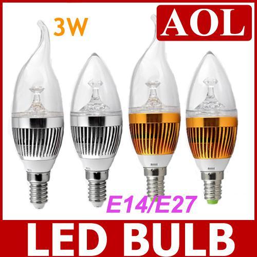 Super lumineux haute puissance E14 E27 Argent Bougie Or LED Ampoule 3W 85 ~ 265V Chaud Blanc et Blanc LED Spot lumière Livraison Gratuite