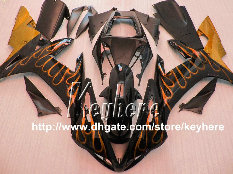 Ücretsiz 7 hediyeler YAMAHA YZFR1 2002 2003 için ABS Plastik kaporta kiti YZF R1 02 03 YZF1000R fairings G9u sıcak turuncu alevler siyah motosiklet parçaları