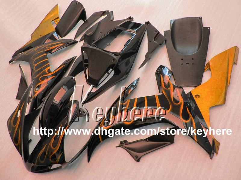 Kit de carénage en plastique ABS gratuit pour YAMAHA YZFR1 2002 2003 YZF R1 02 03 carénage YZF1000R flammes orange chaud G9u pièces de moto noir