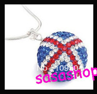 Wholesale British Necklace - British Union Jack Crystal Disco Ball Necklace London Olympic Games UK Flag Shamballa Pendant Chain Necklace 1PC