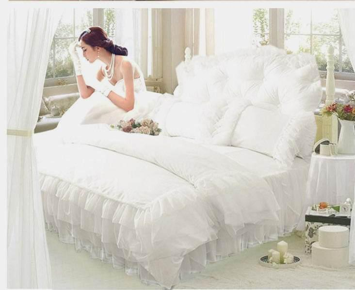 luxury snow white lace bedspread princess bedding set queen king size cover bed skirt bedclothes cotton