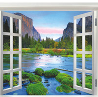 Wholesale Wall Sticker Natural - Living Room Wall Stickers Natural Hill and River Wall Decal Home Decoration Summer Style Fake Windows View
