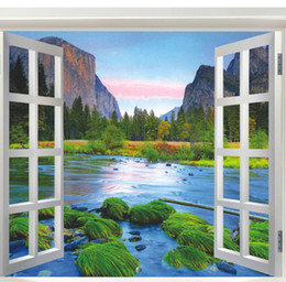 Wholesale River Designs - Living Room Wall Stickers Natural Hill and River Wall Decal Home Decoration Summer Style Fake Windows View
