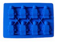 Wholesale Mini Silicon Mould - 100% Food Grade Ice Tray Minifigure Mini Men Silicone Ice Cube Tray Robot Silicon Cake Mold DIY chocolate Mould baking tools