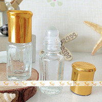 Wholesale golden bottle cosmetic - 3ml Golden Top Roll on Glass Bottles Jars Cosmetic Containers Perfume Vials Cosmetic Jars DC405