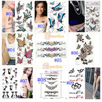 Wholesale 20pcs Butterfly Flowers Cat Temporary Tattoo Flash with Glitter Sexy Tattoo Art