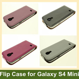 Wholesale Cool S4 Cases - Wholesale Cool Genuine Leather Flip Cover Case for Samsung Galaxy S4 Mini i9190 10pcs lot Free Shipping