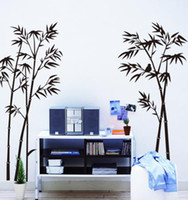Wholesale Wall Decal Bamboo - Black bamboo wall sticker natural garden tree wall paper DIY Murals vinyl removable wall decal