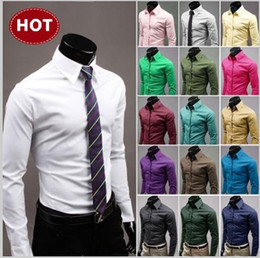 Wholesale Yellow High Collared Dress - High Quality Solid Mens Slim fit Unique neckline stylish Men's long Sleeve Dress Shirt Mens dress shirts size: M-XXL