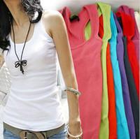 Wholesale Tank Tops Woman Chiffon - Free Shipping Summer hot-selling womens cotton rib knitting women's tank Tops long design