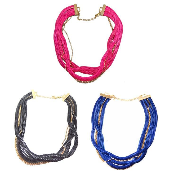 Multi Strands Beads Chunky serpente catena larga cerniera collana piatto Curb link Statement