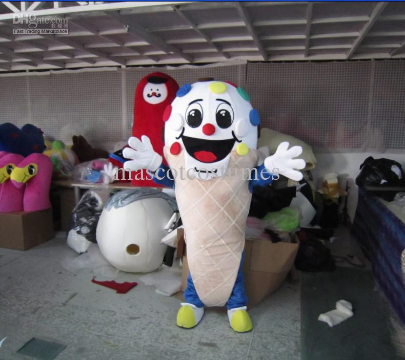 Transporte livre da gota de pelúcia sorvete trajes da mascote dos desenhos animados para adulto fancy dress custom made boa qualidade