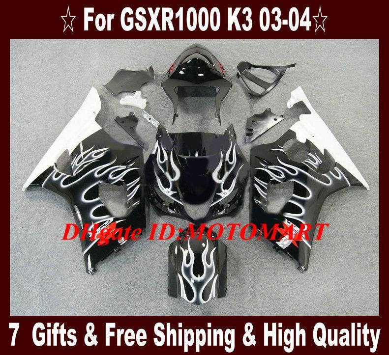 Injectievorm voor Suzuki GSXR1000 2003 2004 Fairing Kit GSX R1000 GSXR 1000 K3 03 04 Witte vlammen BLK-VERICHTINGEN + 7GIFTS SU21