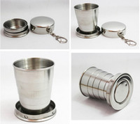 Wholesale Stainless Steel Retractable Keychain - 3 size retail Folding Collapsible Cup Stainless Steel Portable Travel Retractable Cup Keychain