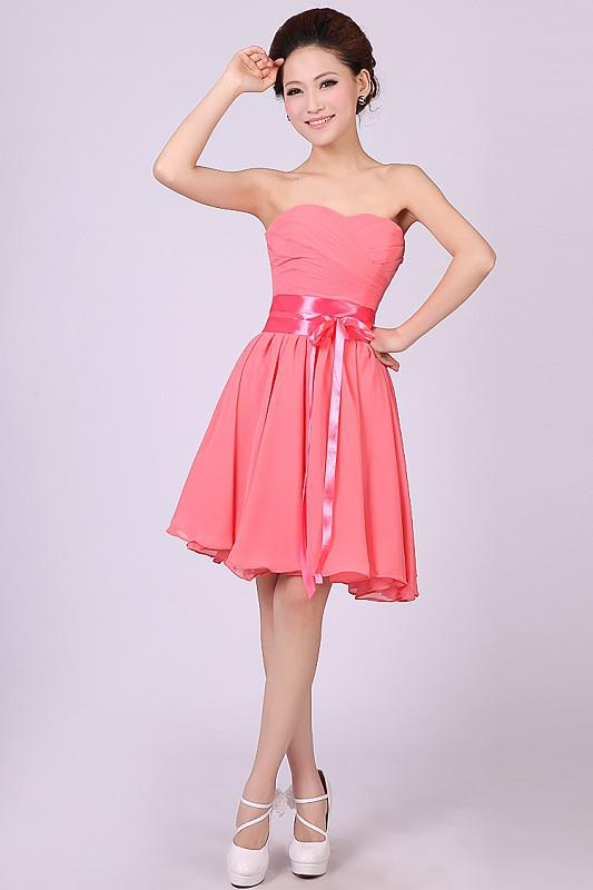 Top Sale Strapless Shimmery Sash Knee Length Coral Short Formal ...