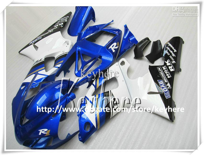Kit de carénage gratuit 7 cadeaux pour yamaha YZF R1 1998 1999 YAZR1 98 99 YZF1000R carénages YZF-R1 g7q pièces de moto noir bleu blanc chaud