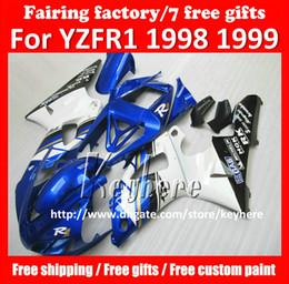 Wholesale 98 R1 Fairings White Black - Free 7 gifts Custom fairing kit for yamaha YZF R1 1998 1999 YAZR1 98 99 YZF1000R YZF-R1 fairings g7q hot black blue white motorcycle parts