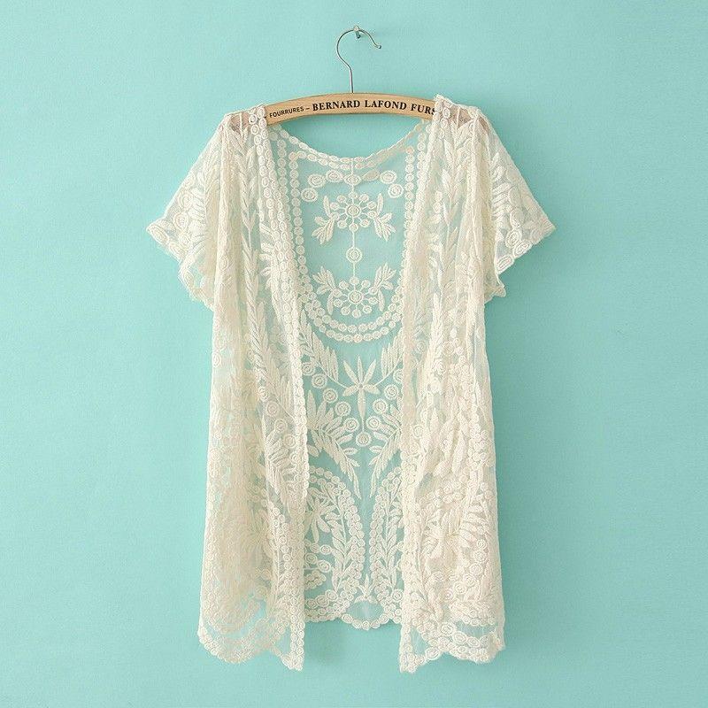 New 2013 Summer Korean Style Women's Cardigan Lace Crochet Hollow ...