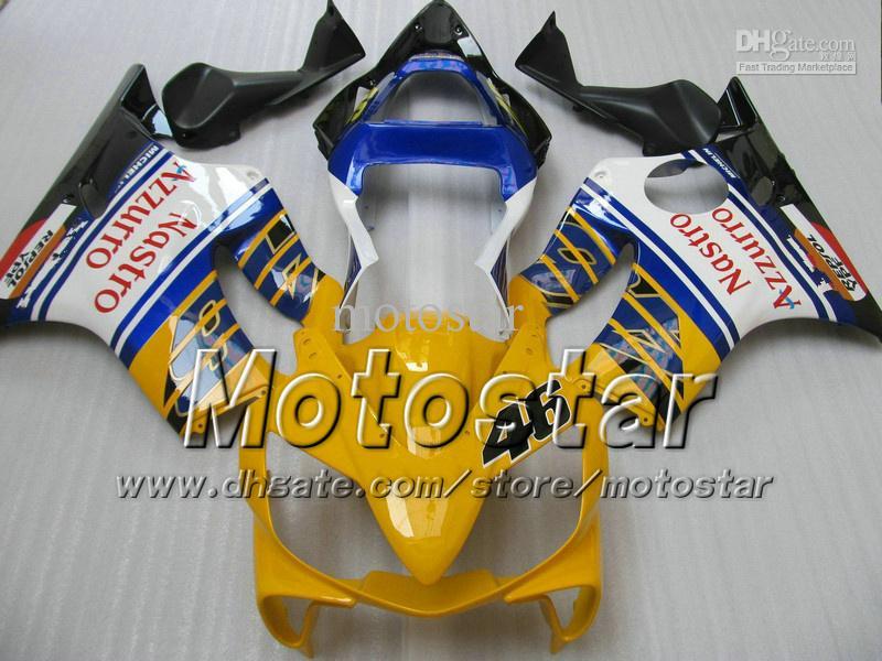 7 Geschenken Backings Carrosserie voor Honda CBR600F4I 01 02 03 CBR600 F4I CBR 600 F4I 2001 2002 2003 Glanzend Geel Blauwe Kuiken