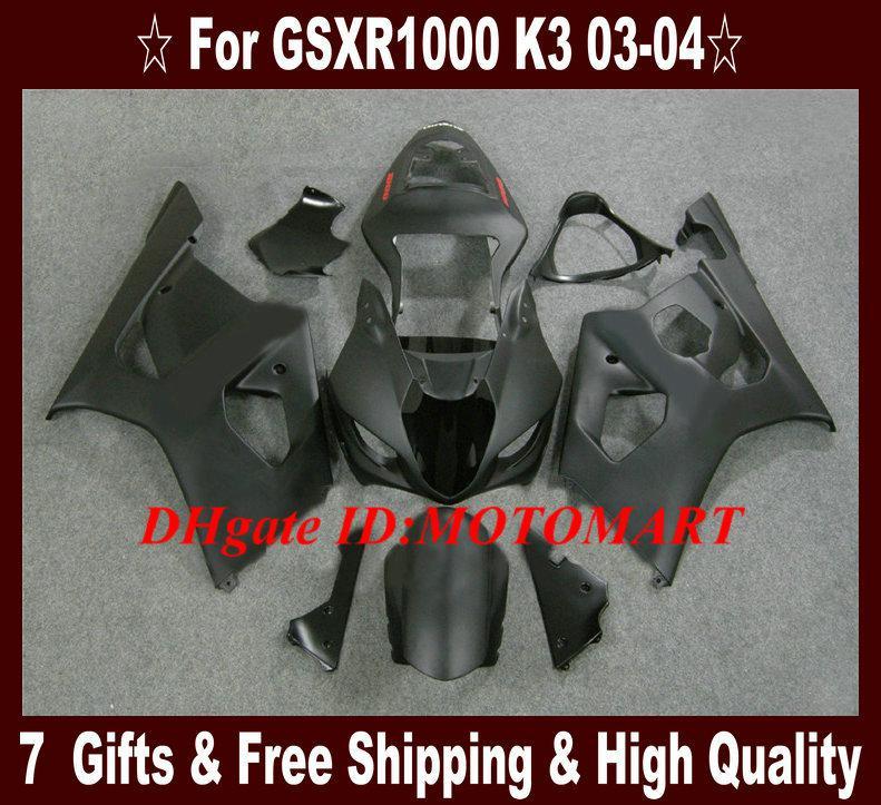ABS Fairing Kit voor Suzuki GSXR1000 2003 2004 GSX-R1000 GSX R1000 GSXR 1000 K3 03 04 Mat Black Fackings Kit + 7Gifts SU50