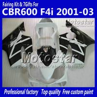 Wholesale Honda F4i Black - 7 Gifts fairings bodywork for HONDA CBR600F4i 01 02 03 CBR600 F4i CBR 600 F4i 2001 2002 2003 glossy white black fairing VV26