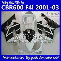 Carrinhos brancos honda f4i on-line-7 Carenagem de carenagens para presentes HONDA CBR600F4i 01 02 03 CBR600 F4i CBR 600 F4i 2001 2002 2003 Carenagem preta branca brilhante VV26