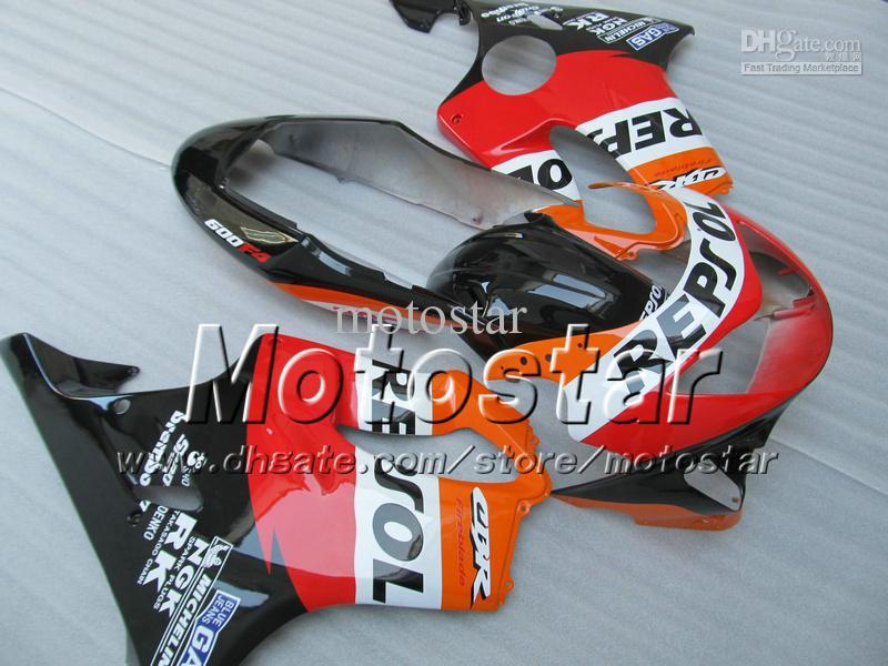 7 Cadeaux carénage carrosserie pour HONDA CBR 600 CBR600 F4 CBR600F4 99 00 1999 2000 rouge orange carénage après-vente personnalisé Repsol ag2