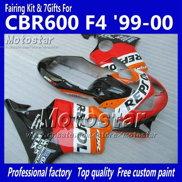 7 Regalos carenados carrocería para HONDA CBR 600 CBR600 F4 CBR600F4 99 00 1999 2000 rojo naranja Repsol custom aftermarket carenado ag2