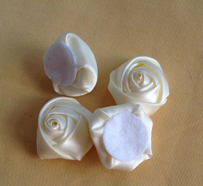 Cor Creme 3.5 cm Fita Tecido Rosa Cabeças de Flor com Almofada para DIY Jóias Hairpin Barrette Headbands