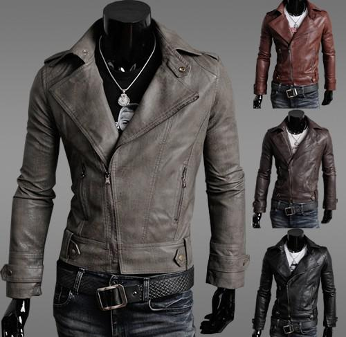 Men 's Leather Motorcycle Jacket Clothing Slim Men Diagonal Zipper ...