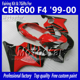 Wholesale Hayabusa Aftermarket Fairings - 7 Gifts fairings bodywork for HONDA CBR 600 CBR600 F4 CBR600F4 99 00 1999 2000 black in glossy red custom aftermarket fairing ag13