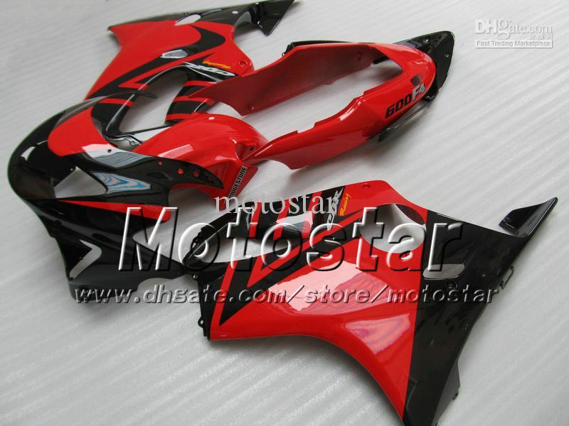 7 Carenagem de carenagens de presentes para HONDA CBR 600 CBR600 F4 CBR600F4 99 00 1999 2000 preto em vermelho brilhante personalizado aftermarket carenagem ag13