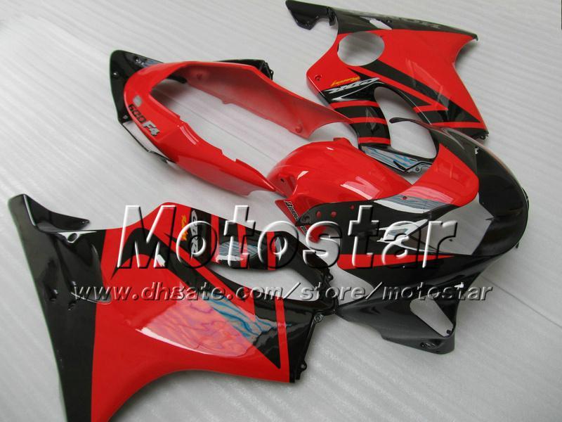 7 Cadeaux carénage carrosserie pour HONDA CBR 600 CBR600 F4 CBR600F4 99 00 1999 2000 noir en rouge brillant carénage de rechange personnalisé ag13