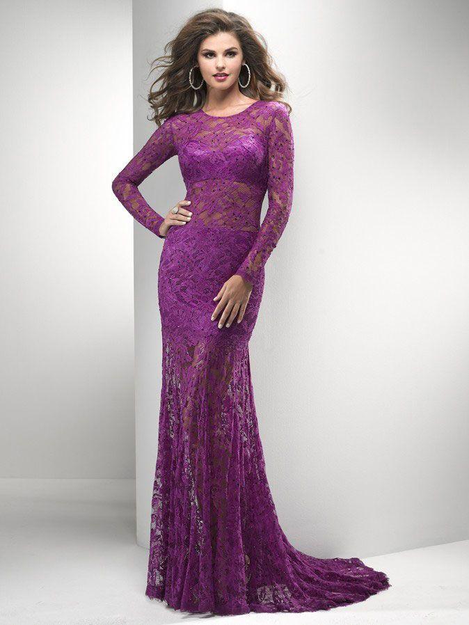 Purple Lace Long Sleeve Sheath Ruffles Court Train Tulle Sheer ...