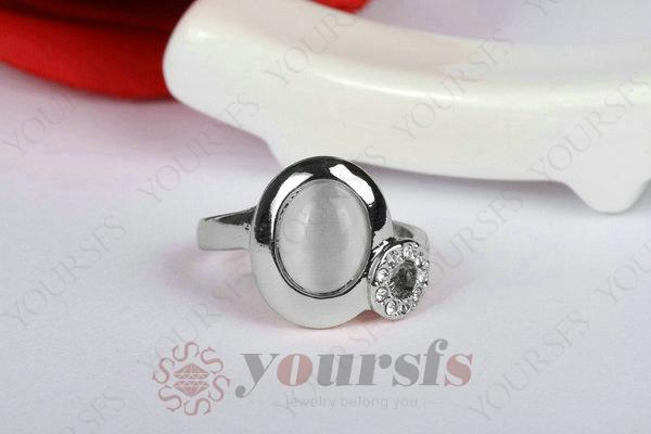 "Yoursfs Rings Fashion Gift Austrian Crystal 18 K White Gold Plated Use Austria Crystal Sumptuous CAT""S EYE Moonstone Popular Rings R119W1"