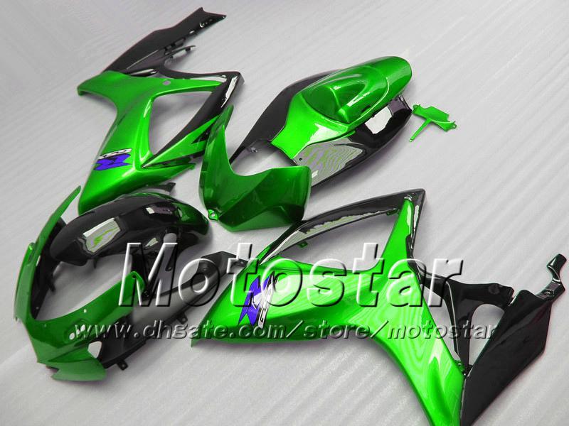 Carcaças de injecção para SUZUKI 2006 2007 GSXR 600 750 K6 GSXR600 GSXR750 06 07 R600 R750 kit de carenagem verde preto brilhante VV64