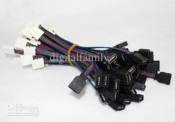 4PIN RGB coloré barre de connexion fil soudé ligne de carte de connexion coupe les extrémités du connecteur PCB pour 3528/5050 RGB led bande accessary en vente