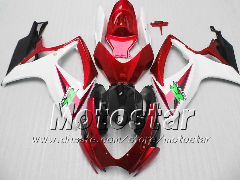 Failings de moldeo por inyección para Suzuki 2006 2007 GSXR 600 750 K6 GSXR600 GSXR750 06 07 R600 R750 Red White Black Kit de carenado VV73