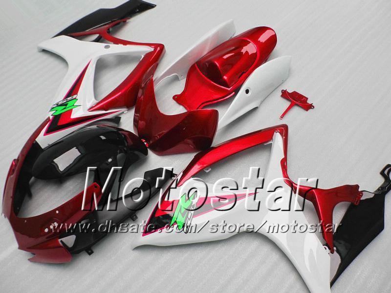 Carénage de moulage par injection pour SUZUKI 2006 2007 GSXR 600 750 K6 GSXR600 GSXR750 06 07 R600 R750 rouge blanc noir kit de carénage VV73