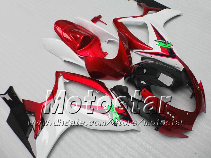 Suzuki 2006 2007 GSXR 600 750 K6 GSXR600 GSXR750 06 07 R600 R750 레드 화이트 블랙 페어링 키트 VV73