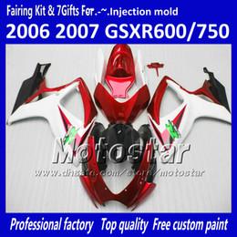 Wholesale Injection molding fairings for SUZUKI 2006 2007 GSXR 600 750 K6 GSXR600 GSXR750 06 07 R600 R750 red white black fairing kit VV73