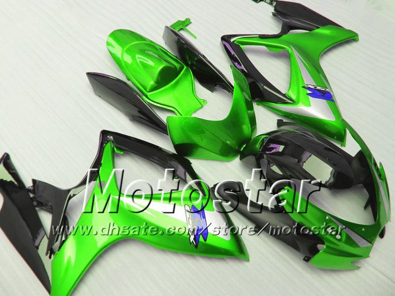Spuitgietballen voor Suzuki 2006 2007 GSXR 600 750 K6 GSXR600 GSXR750 06 07 R600 R750 Glanzend Groen Zwart Fairing Kit VV83