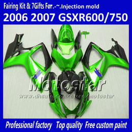 Injection molding fairings for SUZUKI 2006 2007 GSXR 600 750 K6 GSXR600 GSXR750 06 07 R600 R750 glossy green black fairing kit VV83 on Sale